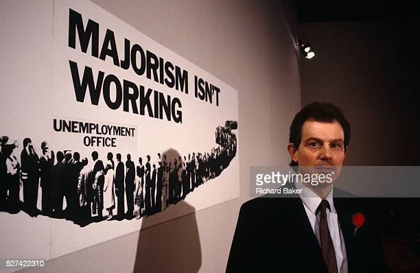 A young Rt Hon Tony Blair MP helps launch a 1992 General Election campaign referring to Prime Minister John Major' failing policies at Millbank the...