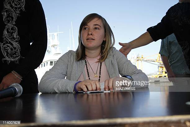 Young Sailor Abby Sunderland in Reunion on June 26 2010The western harbour of La Reunion island The young American sailor Abby Sunderland has arrived...