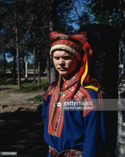 Young Sami man wearing traditional clothes Finland