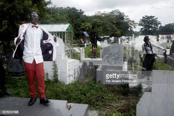 Young Sapeurs parade and show their designer label clothes while paying their respect to Stervos Nyarcos the founder of the kitendi religion which...