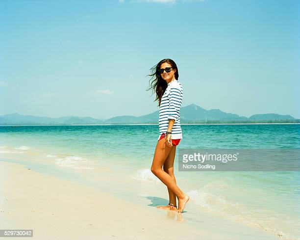 A young Scandinavian woman on the beach