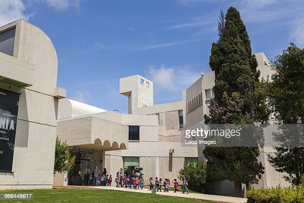 Young school children leaving the Fundacio Joan Miro Foundation in Barcelona