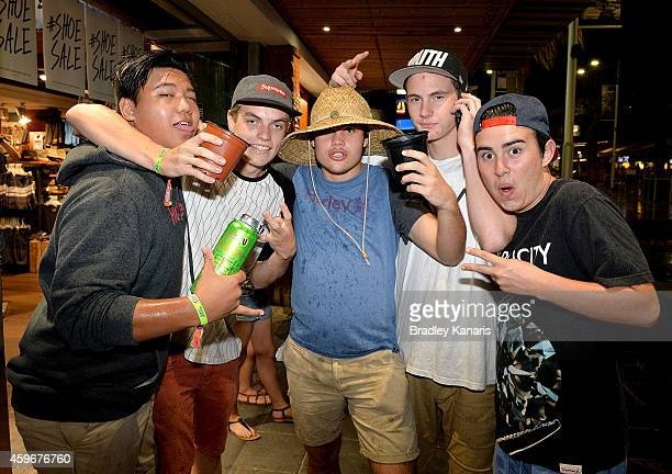 Young school leavers are seen celebrating during Australian 'schoolies' celebrations following the end of the year 12 exams on November 28 2014 in...
