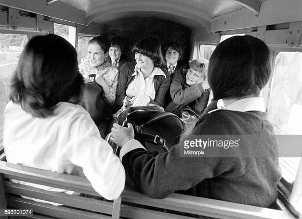 Young schoolchildren make their way to Southlands Primary School on the Romney Hythe and Dymchurch Light Railway in Kent 7th September 1977
