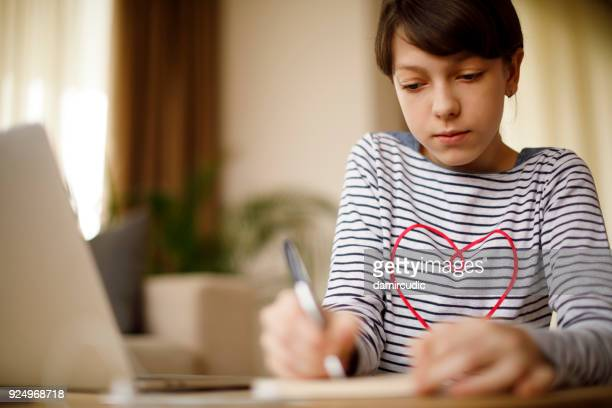 Young schoolgirl studying at home