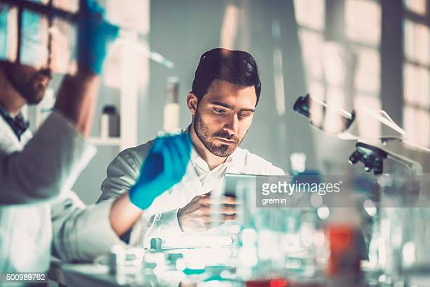 young scientists in laboratory, research, technology - ontwikkeling stockfoto's en -beelden