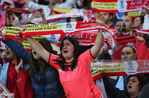 A young Sevilla fan cries during the UEFA Cup semi final secondleg match between Sevilla and Osasuna at the Sanchez Pizjuan stadium on May 5 2007 in...
