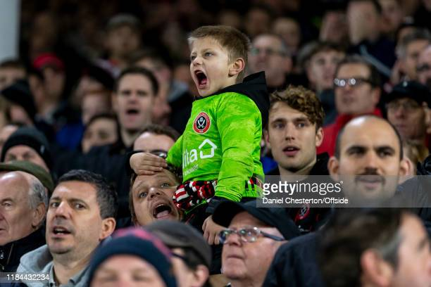 A young Sheffield United fan cheers along as the teams are announced before the Premier League match between Sheffield United and Manchester United...