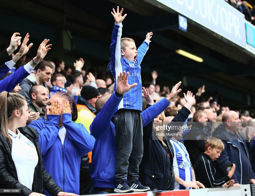 A young Sheffield Wednesday fan celebrates during the Sky Bet Championship match between Queens Park Rangers and Sheffield Wednesday at Loftus Road on April 17, 2017 in London, England.