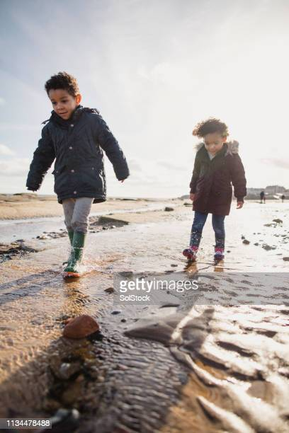 young siblings exploring the beach - whitley bay stock pictures, royalty-free photos & images