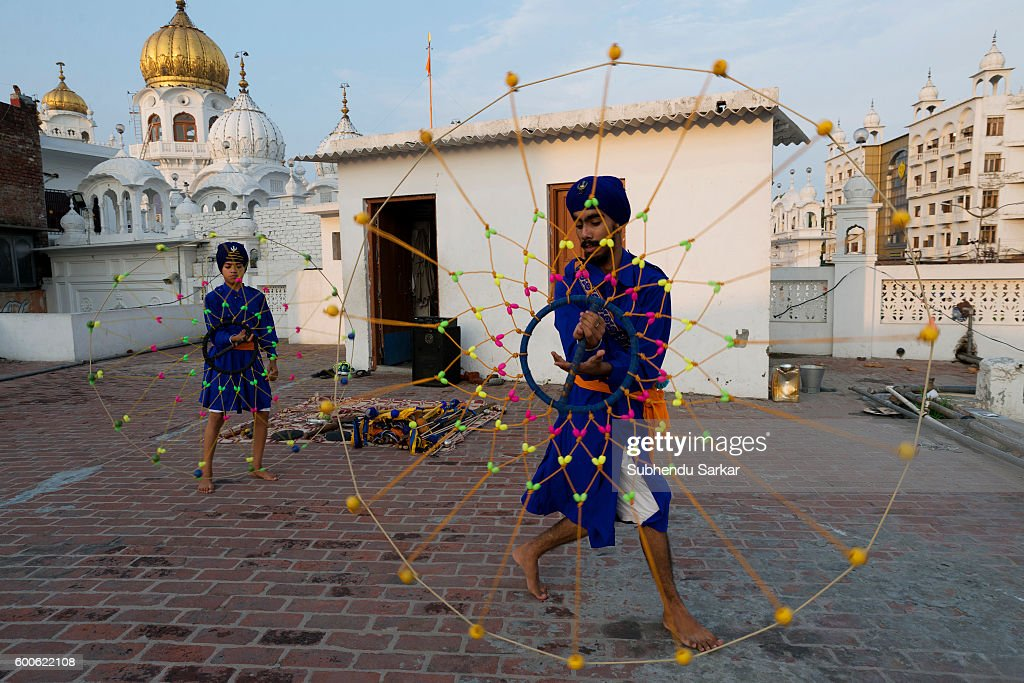 Young sikhs display Gatka skills at Shiromni Gatka Akhara at Gurudwara Baba Deep Singh ji Shaheed Gatka is a traditional Punjabi form of martial art..
