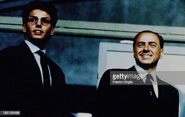Young Silvio Berlusconi and his son Pier Silvio Berlusconi at the Mediaset tv headquarters in 1991 in Milan, Italy.