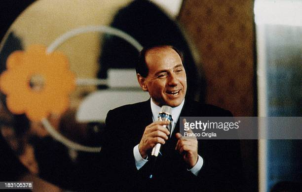 Young Silvio Berlusconi holds a speech at the Mediaset tv headquarters on February 1992 in Milan, Italy.