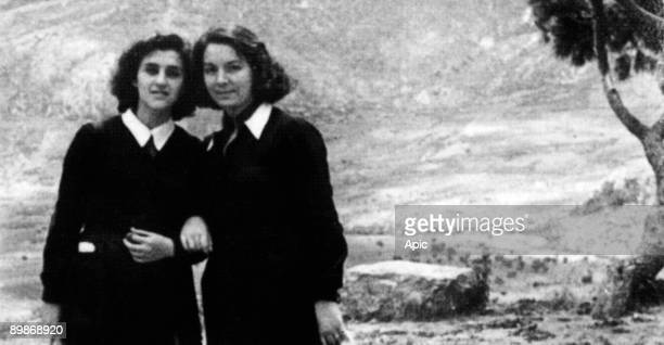 Young singer Nana Mouskouri with a friend in Greece c 1947