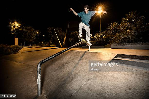 young skateboarder in the city - railings stock pictures, royalty-free photos & images