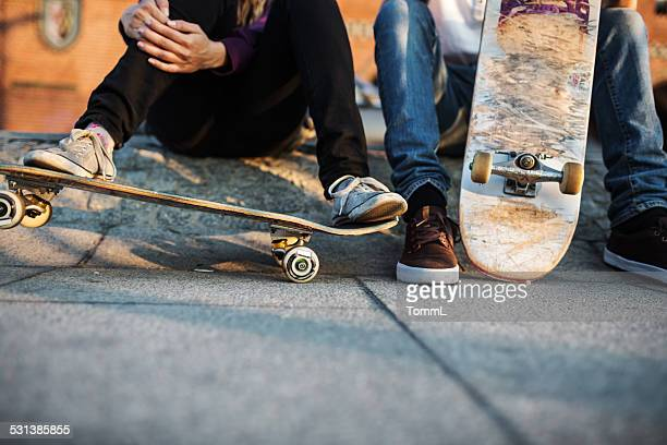 young skater relaxing - skating stock pictures, royalty-free photos & images