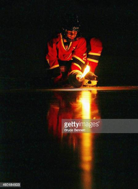 Young skater takes part in the pregame ceremony prior to the game against the Montreal Canadiens and the New York Rangers in Game Two of the Eastern...