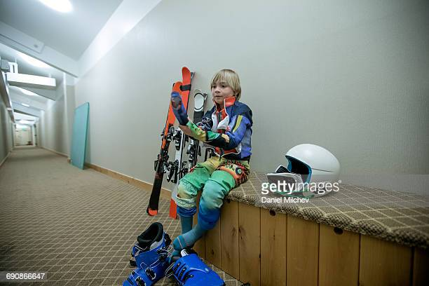 Young ski racer getting ready.