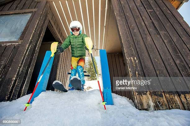 young ski racer kid on the start line. - ski racing stock pictures, royalty-free photos & images