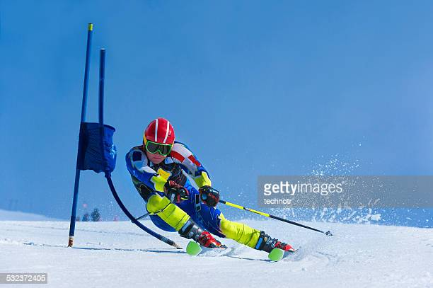 Young Skier Practicing Giant Slalom