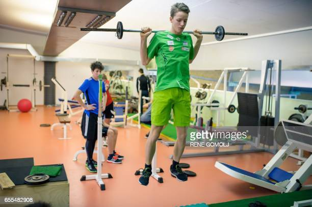 Young slovenian ski jumpers are seen during a practice session in Kranj, Slovenia on February 9, 2017. Slovenia may be small, but this nation of two...