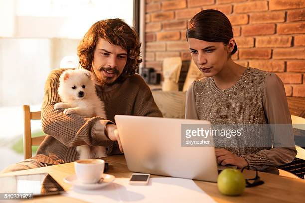 Young smiling couple with puppy surfing the internet on laptop.