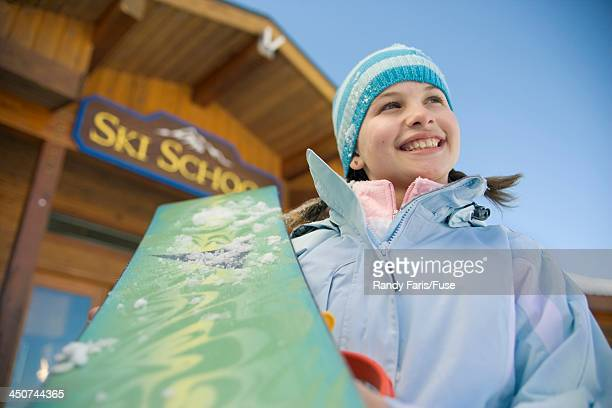 Young Snowboarder at Ski School