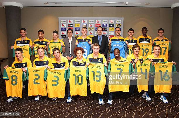 Young Socceroos players pose with Paul Okon and Mark Bosnich during the Young Socceroos farewell function at the Mercure Sydney Hotel on July 15 2011...