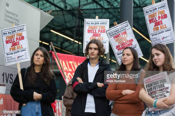 Young Socialists assemble outside the Department for Business, Energy and Industrial Strategy for a London March for Jobs to Downing Street on 9th...