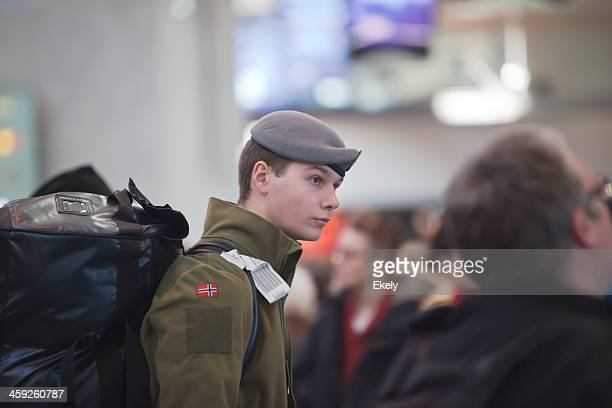Young soldier with backpack