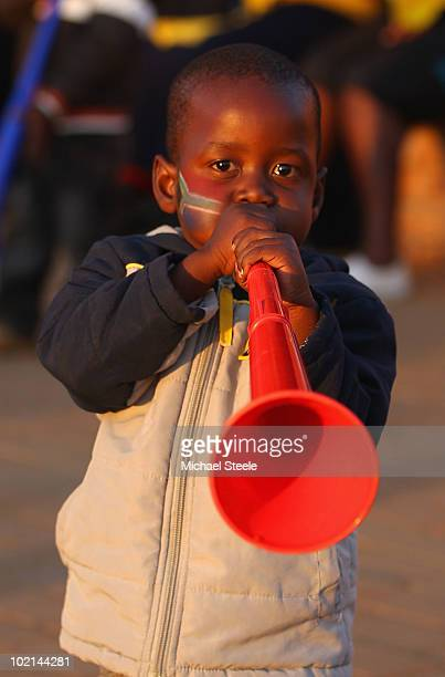 Young South Africa fan blows a vuvuzela before the 2010 FIFA World Cup South Africa Group A match between South Africa and Uruguay at Loftus Versfeld...