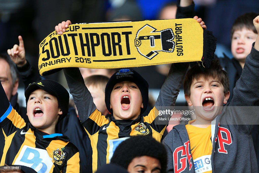 Young Southport fans show their support during the FA Cup Third Round match between Derby County and Southport FC at the iPro Stadium on January 3, 2015 in Derby, England.