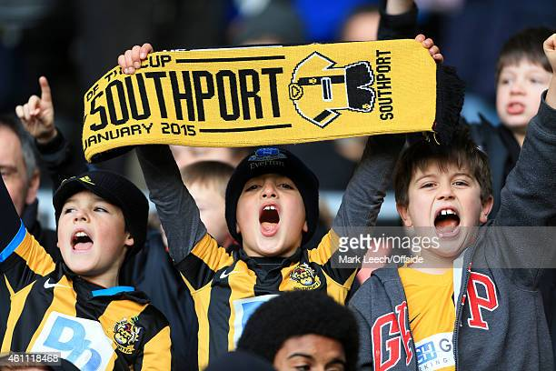 Young Southport fans show their support during the FA Cup Third Round match between Derby County and Southport FC at the iPro Stadium on January 3...