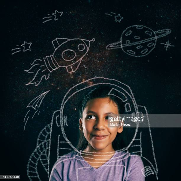 young space explorer aspirations - blackboard stock photos and pictures