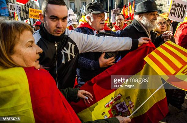 A young Spanish unionist seen showing a Spanish flag Spain celebrates today the 39 anniversary of its Constitution This year the celebration...