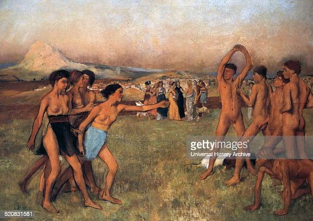 Young Spartans exercising oil on canvas painting by French impressionist artist Edgar Degas 1880