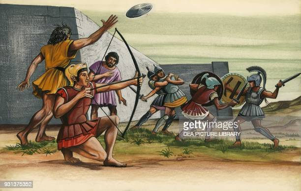 Young Spartans exercising with weapons Sparta drawing Greek civilization