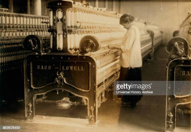 Young Spinner in Cotton Mill Indian Orchard Massachusetts USA Lewis Hine for National Child Labor Committee June 1916