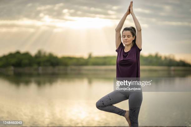 young sporty attractive woman practicing yoga, doing vrksasana exercise on lake pier - yogi stock pictures, royalty-free photos & images