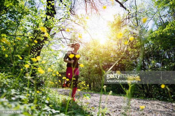 young sporty woman jogging through the forest. - running stock pictures, royalty-free photos & images