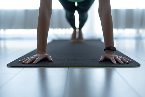 Young sporty woman standing in plank pose on fitness mat 1168143615