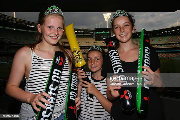 Young Stars fans show their support during the Big Bash League match between the Melbourne Stars and the Hobart Hurricanes at Melbourne Cricket...
