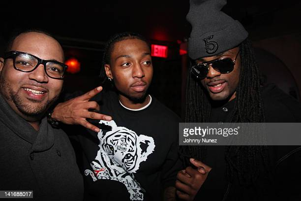 Young Stat, Fo Sho and Adolane of The 5 attend the 5 listening party at Tillman's on March 21, 2012 in New York City.