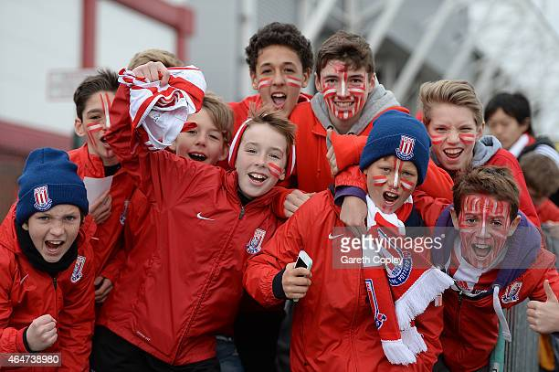 Young Stoke fans show their support prior to the Barclays Premier League match between Stoke City and Hull City at Britannia Stadium on February 28,...
