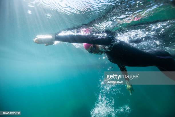 young, strong woman swimming in blue lake with morning sun sparkling, underwater view - emerald bay lake tahoe stock pictures, royalty-free photos & images