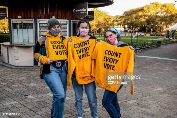 """Young students female voters with """"Every Vote Counts"""" hoodies. On the University of Pittsburgh campus many students organizing get out the vote..."""