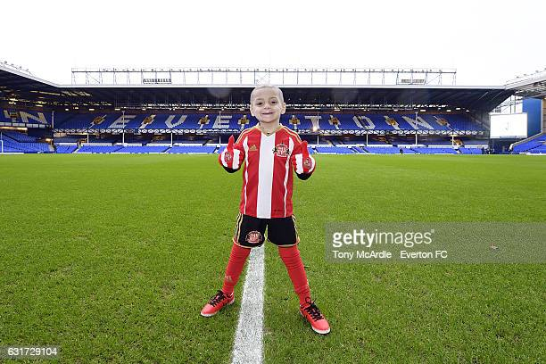 Young Sunderland fan Bradley Lowery before the Barclays Premier League match between Everton and Manchester City at Goodison Park on January 15 2017...