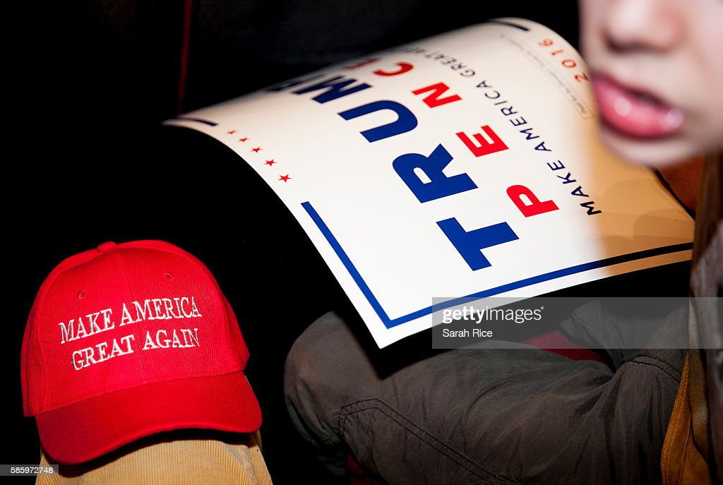 A young supporter of Republican Presidential candidate Donald Trump waits for him to speak at the Merrill Auditorium on August 4, 2016 in Portland, Maine.