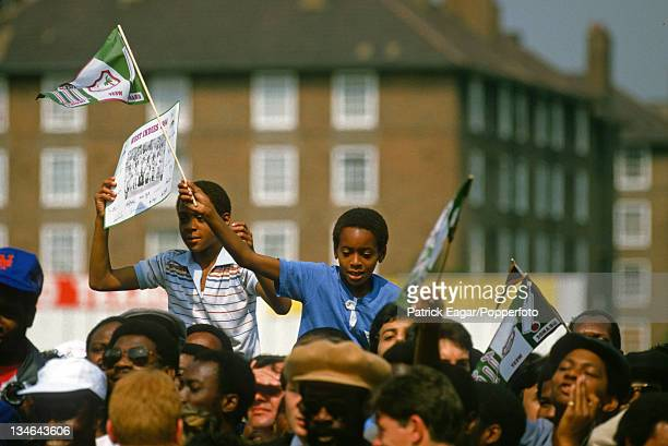 Young supporters at The Oval, England v West Indies, 5th Test, The Oval, August 1984.