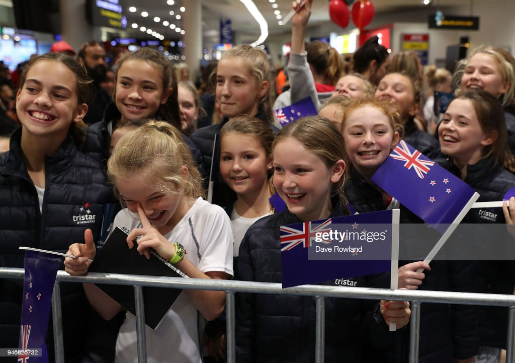 Young supporters during the Welcome Home Function at Novotel on April 16, 2018 in Auckland, New Zealand.